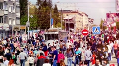 Russia, Novosibirsk, 9 may 2015. Crowd of busy people walking on the street in Stock Footage