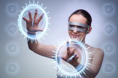 Techno girl pressing virtual buttons Kuvituskuvat
