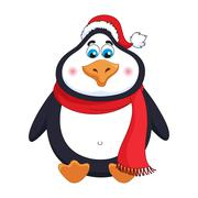 New Year's cheerful cute penguin in winter red hat and scarf sits Stock Illustration