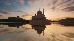 Putrajaya Mosque Time Lapse during beautiful sunrise Stock Footage