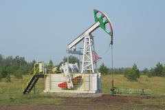 The oil pump pumps Stock Photos