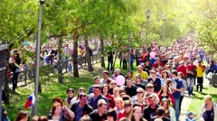 Russia, Novosibirsk, 9 may 2015. the 9th may Victory Holiday. Busy people crowd Stock Footage