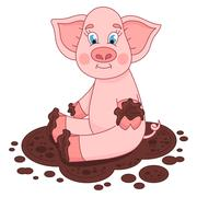 Cute pig in a puddle, funny piggy sits Stock Illustration
