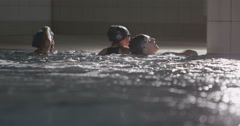 Professional female swimming team Stock Footage