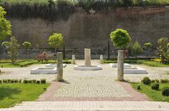 Beautiful park with trees and stone arrangements - Alba Iulia, Romania Stock Photos