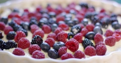 Freshly baked homemade pie with assorted berries Stock Footage
