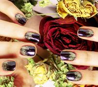 Close up picture of manicure nails with dry flower red rose, deh Stock Photos