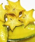 Delicious carambola asian exotic fruit on white background isola Stock Photos