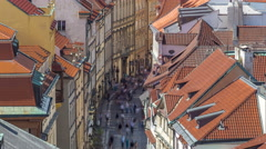 View from the height Powder Tower in Prague timelapse. Historical and cultural Stock Footage