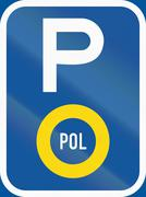 Road sign used in the African country of Botswana - Parking for police vehicl Stock Illustration