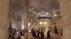 Church of the Holy Sepulchre: Mass at the Stone of the Anointing 360 video Stock Footage