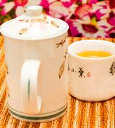 Green Tea Break Indicating Beverages Refreshments And Drinks Stock Photos