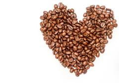 Love Coffee Beans Representing Cafe Aromatic And Brown Stock Photos