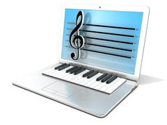 Laptop with piano keyboard. 3D Stock Illustration