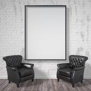 Blank picture frame with black armchairs. Mock up poster. 3D Stock Illustration