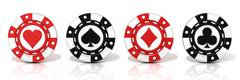 Set of standing gambling poker chips, with spade, heart diamond and club sign Stock Illustration