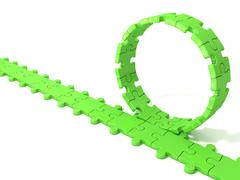 Green puzzle ring rotating over puzzle chain Stock Illustration