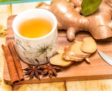 Refreshing Ginger Tea Meaning Spiced Teacup And Spice Stock Photos