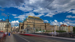 Timelapse hyperlapse view of the National Theater in Prague from the Legion Stock Footage