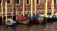 Row Boats Floating At Canal Pier Or Dock Stock Footage