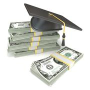 Education concept. Graduation cap on stack of dollar bills. 3D Stock Illustration