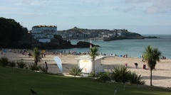 Typical English Beach in Cornwall Stock Footage