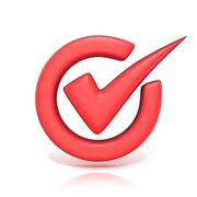 Red correct check mark in circle. 3D Stock Illustration