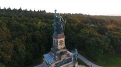 Aerial view Niederwalddenkmal Ruedesheim and vineyards, Rheingau Stock Footage