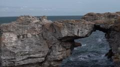 Rock Bridge Formation at Sea 4K Stock Footage