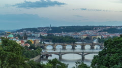 Scenic view of bridges on the Vltava river day to night timelapse and of the Stock Footage