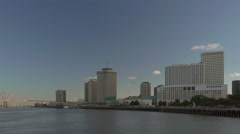 New Orleans skyline seen at dusk while boating on Mississippi Stock Footage