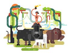 Character Mowgli with animal Stock Illustration