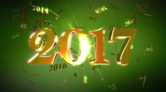 New Year 2017 Animation Loopable Background Stock Footage