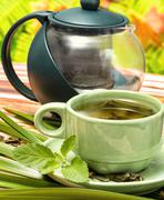 Mint Green Tea Showing Refreshment Beverages And Refresh Stock Photos