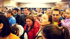 Russia, Novosibirsk, 9 may 2015. Crowd of passengers are entering a subway Stock Footage