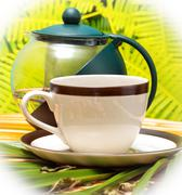 Green Tea Cup Meaning Drink Refresh And Cups Stock Photos