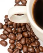 Coffee Beans Showing Hot Drink And Caffeine Stock Photos