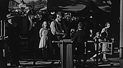 Sacramento County fair 1938: people entering into the fair Stock Footage