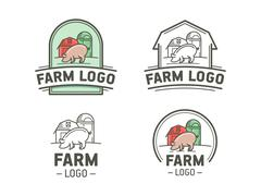 Farm logo set Stock Illustration