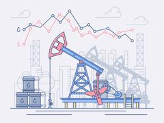 The oil industry, pumps, trade and profit. Stock Illustration