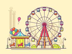 Funfair with ferris wheel Stock Illustration