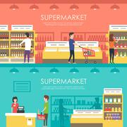 People in supermarket. Vector flat illustration. Grocery store Stock Illustration