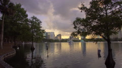 Side view for the lake in downtown Orlando, Florida Stock Footage