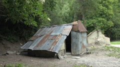 Chinese Gold Mining Settlement lean-to, Arrowtown Stock Footage