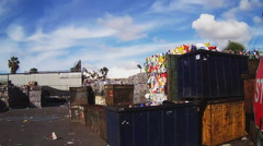 Sorted Recyclables At Recycling Center Pan- San Diego CA Stock Footage