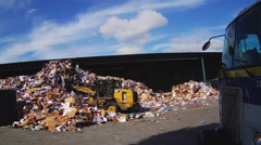 Truck Arriving At Recycling Center With Recyclables- San Diego CA Stock Footage