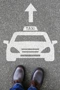 Man people taxi cab icon sign logo car vehicle street road traffic city mobil Stock Photos