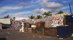 Sorted Recyclables At Recycling Center- San Diego CA Stock Footage