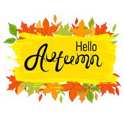 Hello, Autumn .The inscription on the  background. Yellow and orange leaves Stock Illustration