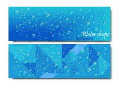 Horizontal Banners Set with Water Drops. Vector illustration. Realistic Piirros